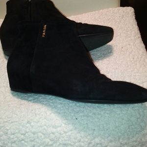 Prada suede flat ankle booties black size 7